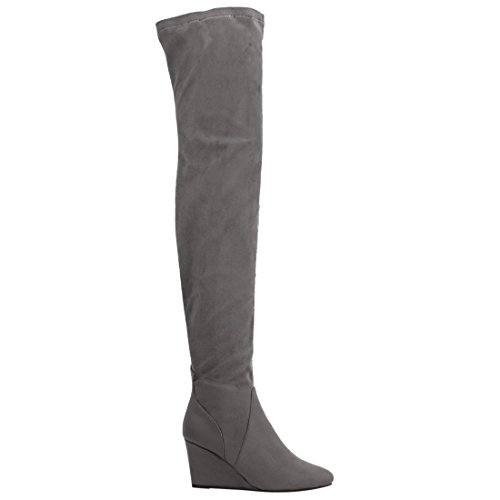 High Wedge Snug EK54 Grey The Boots Fit Stretchy Knee Women's Breeze Nature Over RzwHqZz