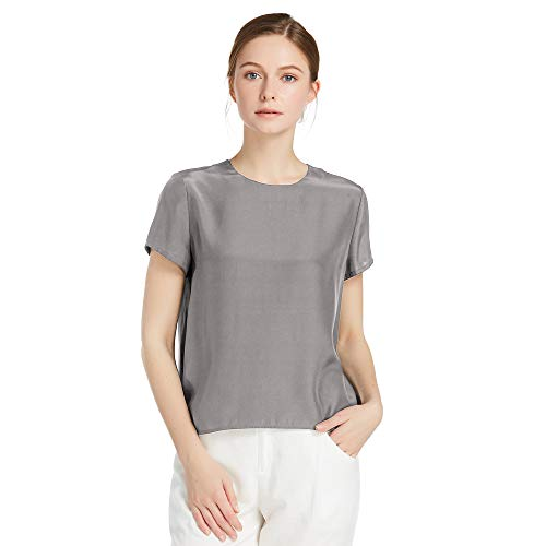 LilySilk Silk Blouses for Women Short Sleeve 100 Pure Mulberry 22 Momme Ladies Silk Tops Button Slit Back Closure (Dark Grey, -