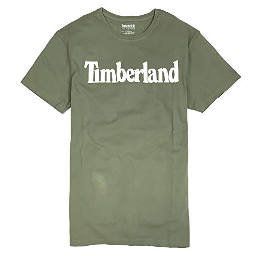 Linear Olive - Timberland Men's Short Sleeve Linear Logo Organic Cotton T-Shirt (Olive Green/White Logo, X-Large)