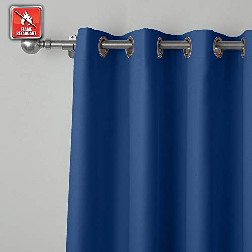 cololeaf Flame Fire Retardant Curtains Room Darkening Blackout Window Curtain for Home, Kitchen, Office, Hotel, School, Cinema and Hospital- Anti-Bronze Grommet - Blue 52W x 84L Inch (1 Panel)
