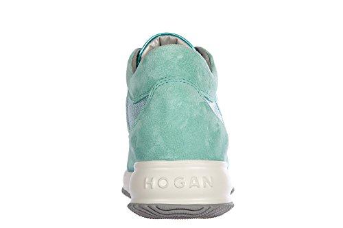 Hogan chaussures baskets sneakers femme en daim interactive vert