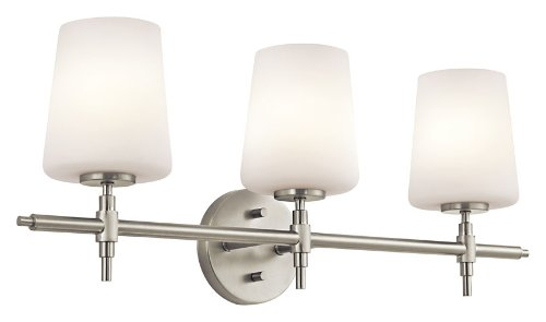 Kichler 45387NI Arvella 3-Light Vanity Fixture, Brushed Nickel Finish with Satin Etched Cased Opal Glass