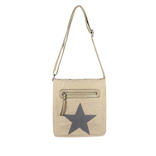"Unisex Courierbag Star bolsa bolsa de lona bolsa de mensajero bolso de hombro cruzado hombro bolsa de tela verde Khaki 14.17""x11.81""x3.94"" Beige-gris"