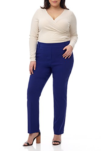 Rekucci Curvy Woman Ease into Comfort Plus Size Straight Pant w/Tummy Control ()