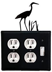 Eoos-133 Loon Double Outlet Single Switch Electric Wall Plate With Silhouette