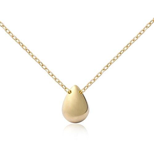Fonsalette Dainty Necklace Teardrop Necklace Minimalist Pear-Shaped Necklace for Women Fashion Necklace for Women 14K Gold Necklace for Women ()