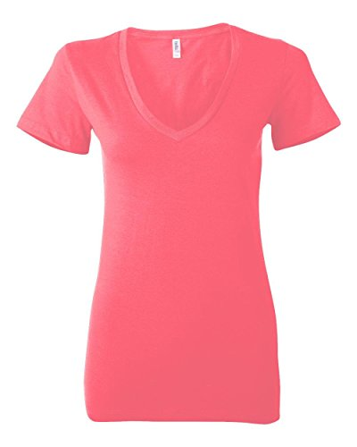 [Bella 6035 Womens Jersey Short Sleeve Deep V-Neck Tee - Neon Pink, Large] (Neon Outfits)