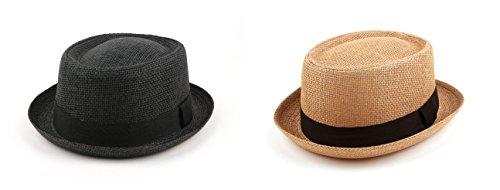 Spring Summer Unisex Porkpie Hat Straw Fedora 507HFS (2 pcs Black & - Shipping Rates Usps Worldwide
