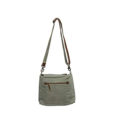 Chic segmented Cross Body Bag-stamped canvas, animal print and Leather Accents