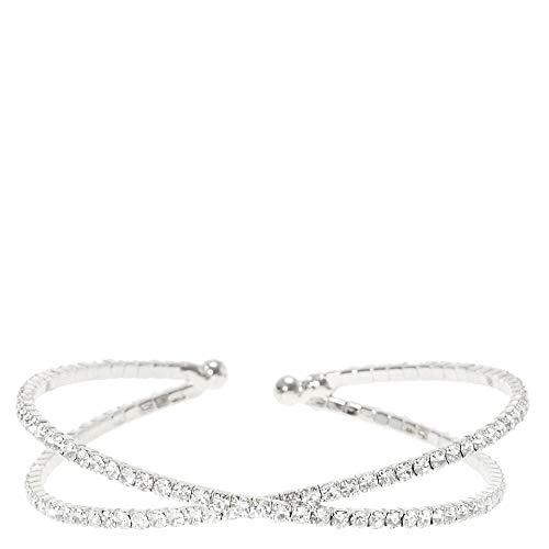 Silver Rhinestone Criss Cross Bracelet (Criss Cross Rhinestone)