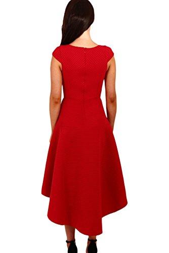 New Frau Roten Streifen Square Ausschnitt Up Down Hemline Skater Kleid Ball Kleid Abend Party Wear plus Größe M UK 10–12EU 38–40