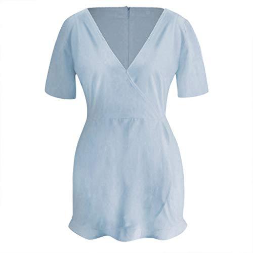 Xiaojmake Women Casual Short Sleeve Solid Color v Neck Ruffle Wrap Mini Dress