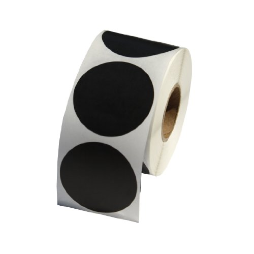 Black Round Labels / Stickers - 1.5 Inch Round Labels 500 Stickers Per Roll