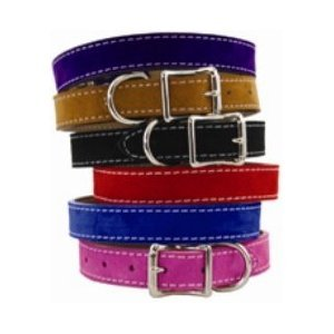 Saratoga Suede Dog Collar 3/4x14 Red