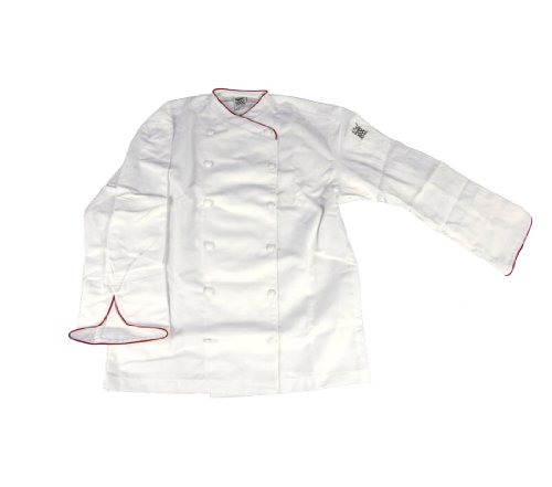 Chef Revival J008RD Chef-Tex Poly Cotton Corporate Chef Jacket with Red Piping and Cloth Covered Button Style, Medium, White (Revival Chef Clothing)