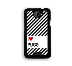 Love Heart Pugs HTC One X Case - Fits HTC One X