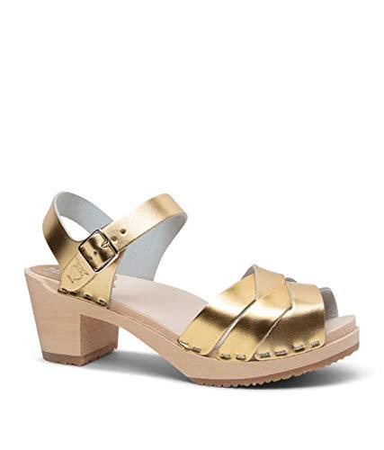 Sandgrens Swedish High Heel Wooden Clog Sandals for Women | Rio Grande Metallic Gold, EU 41