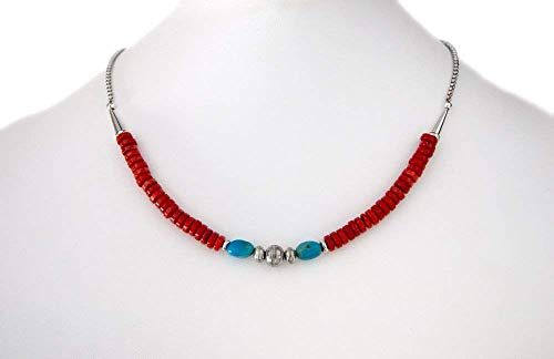 Sterling Silver Necklace with Genuine Turquoise Carnelian Gemstones and Vintage Silver Cones 16