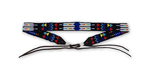Mayan Arts Hat Band, Hatband, Cowboy, Cowgirl, Rodeo Western, Leather, Beaded, Multi-Color, Handmade in Guatemala 7/8
