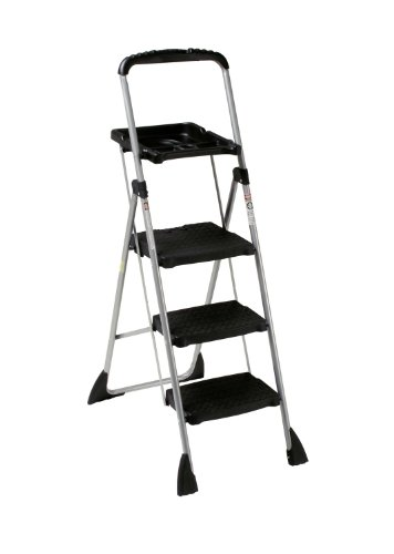 Max Work Steel Platform Step Stool, 22w x 3d x 61h, Black by Cosco