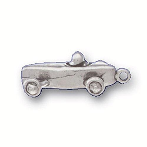 925 Sterling Silver Classic Down Hillside Sport Soap Box Derby Car Pendant (Sterling Silver Car Charm)
