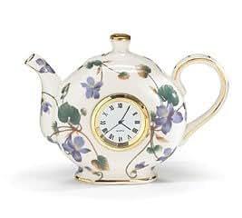 Amazon Com Teapot Shaped Wall Clock Violet Pattern