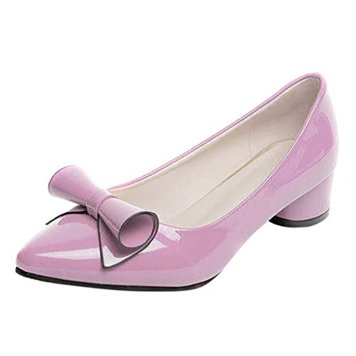 Cenglings Woman's Casual Patent Leather Point Toe