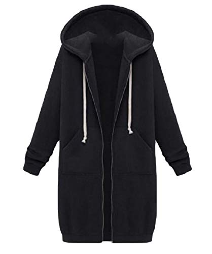 Plus Wrap Zip Velvet MogogoWomen Coat Relaxed Hooded Sweatshirt Black Casual BHCdFq