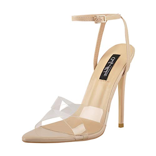 Onlymaker Women's Pointy Open Toe Strap Heels Clear Cross Band Ankle Strap Slingback Fashion Sandals Beige Size ()
