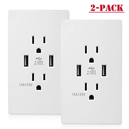 Socket with 15a electrical receptacles 2 pack dual usb wall outlet charger port (The Ac Power Adapter Type Cannot Be Determined)