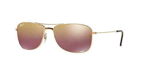 Ray-Ban Metal Unisex Polarized Iridium Aviator Sunglasses, Shiny Gold, 59 - Prescription Fast Sunglasses