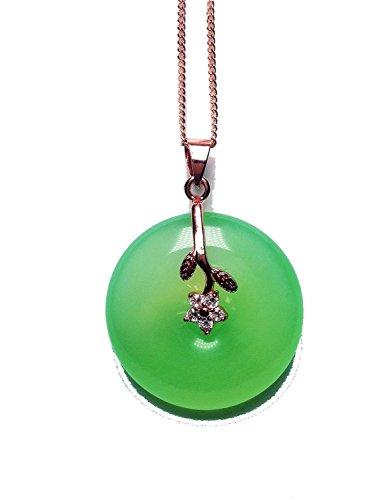yigedan 14k Gold Plated Green Jade Gemstone Pendant Lucky Donut Necklace