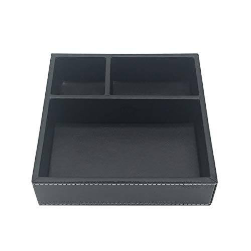 UnionBasic Flat 3-Slot Small PU Leather Drawer Tray Desk Stationery Sundries Gadget Organizer Storage Box Business Card Holder Key Container (Black) - Key Desk Drawer Tray