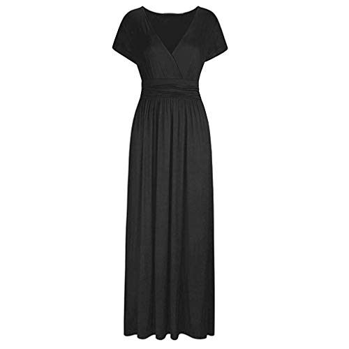Respctful✿Women Summer Dress Short Sleeve Striped Chiffon Maxi Dresses Sexy V Neck Evening Cocktail Party Long Dress Black by Respctful Women's Clothing (Image #2)