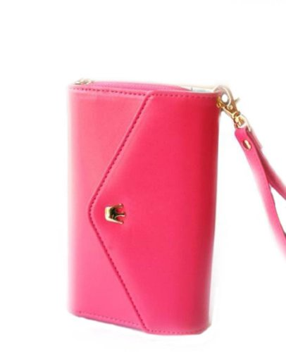 Wallet Multipurpose Card Coin Wallet Phone Case Purse For Iphone 4 4s 5 Galaxy s3 s4-Rose Pink