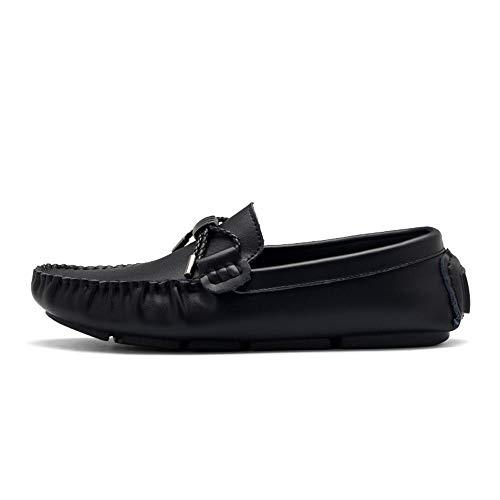 Zapatos los Hombres Cuero Ocio Blanco de de 40 Negro amp;Baby EU los Driving Sunny Confortable Slip tamaño Libre Antideslizante Genuino Flat Loafer de Heel en Mocasines al Aire Color IxaqU7