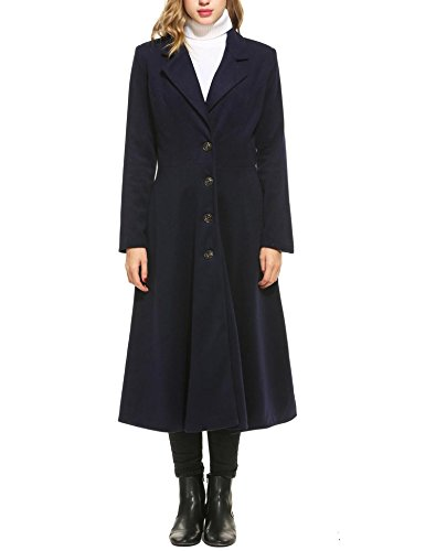 rench Coat Single Breasted Casual Swing Coat Overcoat Wool Pea Coat (Long Dress Coat)