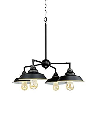 Longwind Four-Light Industrial Chandelier Lighting?Island Pendant Light Fixture with Oil Rubbed Bronze Finish Highlights