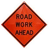 Dicke Safety Product ''ROAD WORK AHEAD'' 48'' Vinyl ''Super Bright'' Reflective Orange Roll Up Sign (1/4'' V & 3/16'' H) Comes with Ribs and 4-Pockets