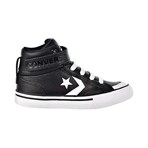 Converse Boys Kids' Pro Blaze Strap Leather High Top Sneaker, Black White, 3.5 M US Big