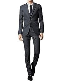 Men's Suit Slim Fit 2-Piece Two Buttons Coat Tuxedo Single Breasted Jacket Business Wedding Blazer