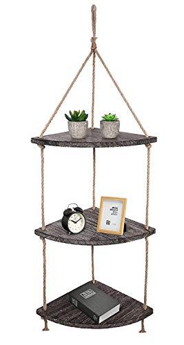 (TIMEYARD Hanging Corner Wall Shelf, Distressed Brown Wood Jute Rope Floating Shelves, Farmhouse Storage Organizer Rack Rustic Home Decor for Living Room Bedroom Bathroom Kitchen)