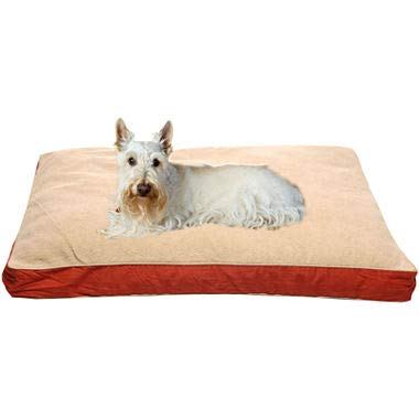 Carolina Pet 012000 Four Season Poly Fill Jamison Pet Bed with Cashmere Berber Top & Contrast Cording - Barn Red with Khaki Cord44; Small