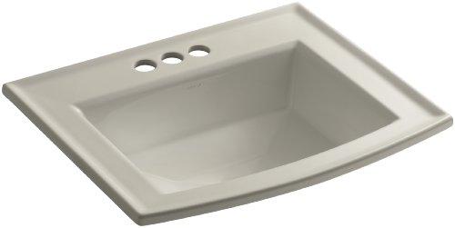 - Kohler K-2356-4-G9 Vitreous china Drop-In Rectangular Bathroom Sink, 25.5 x 21.5 x 10.125 inches, Sandbar