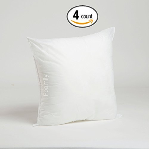 Foamily Set of 4 Premium Hypoallergenic Stuffer Pillow Insert Sham Square Form Polyester, 18