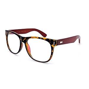 Amillet Men's Wooden Vintage Oversized Glasses Frame Clear Lens Eyeglasses 55-19-140 Tortoise