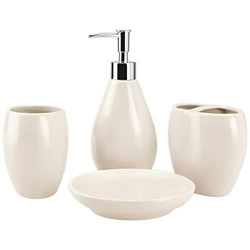 (4-Piece Ceramic Bathroom Accessories Set, Bathroom Ensemble Sets for Bath Decor Includes Soap Dispenser Pump, Toothbrush Holder, Tumbler, Soap Dish, Durable Complete Set Bath Organizer (Beige))