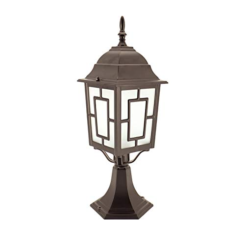 (IN HOME 1-Light Outdoor Garden Post Lantern L05 Lighting Fixture, Traditional Post Lamp Patio with One E26 Base, Water-Proof, Bronze Cast Aluminum Housing, Frosted Glass Panels, ETL)