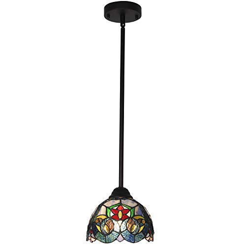 VINLUZ One Light Fixture Pendant Mini Tiffany Style 7-inch Stained Glass Shade Multi-Colored Chandelier Lighting Victorian Antique Hanging Light Fixtures Ceiling for Bedroom Living Room Dining Room