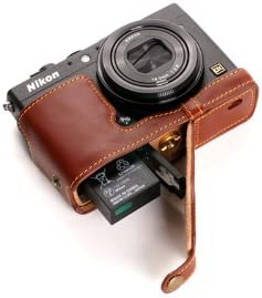 Handmade Genuine real Leather Half Camera Case bag cover for Nikon Coolpix A Brown Bottom opening Version